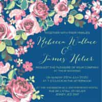 floral fantasy classic blue wedding invitation from £5 ananyacards.com
