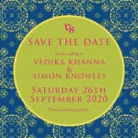 mandala love classic blue save the date from £4 ananyacards.com
