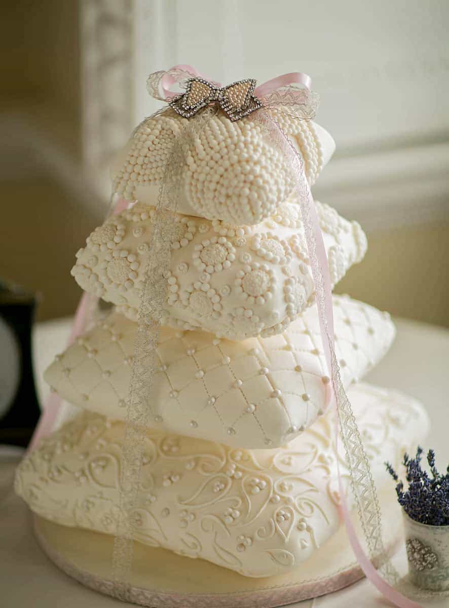 pearl perfection pillow cake with ribbons