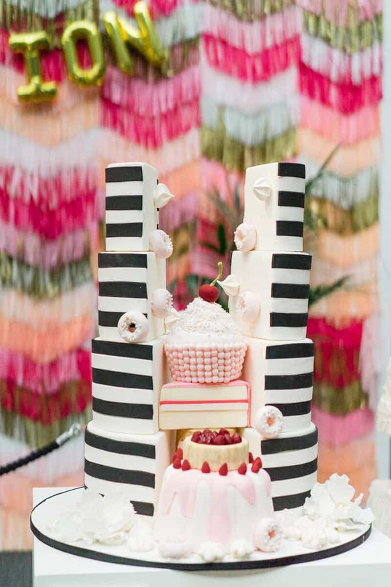 split cake black and white
