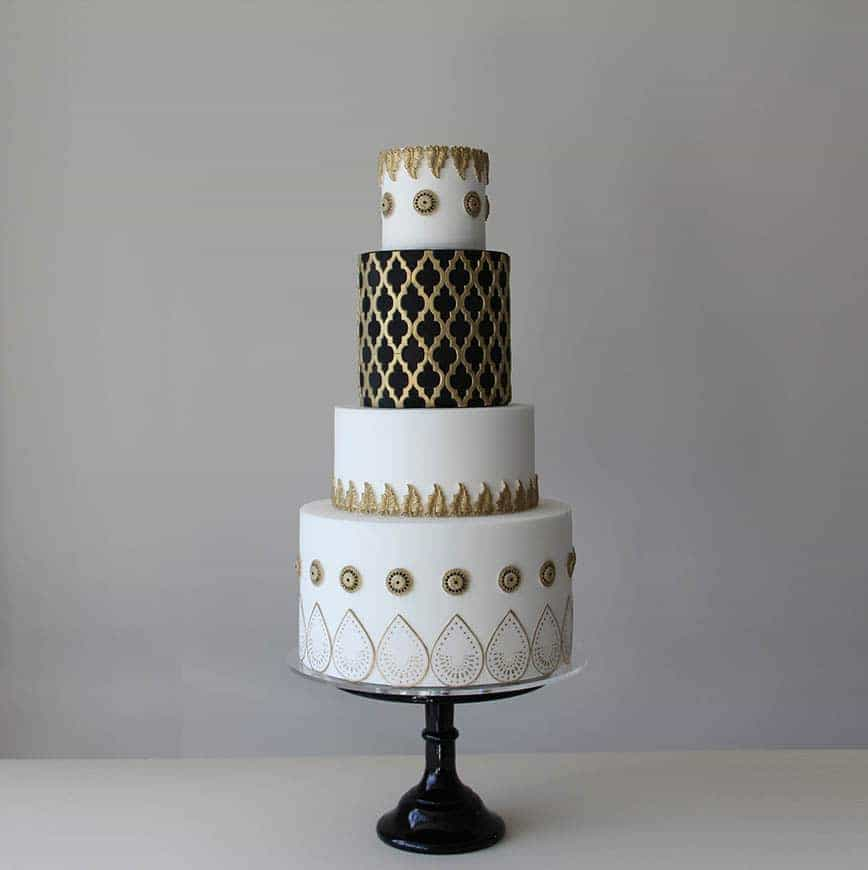 Black, White and Gold Moroccan Lattice Wedding Cake
