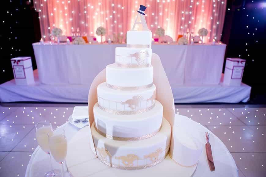 Spiral Horseracing Silhouette Wedding Cake