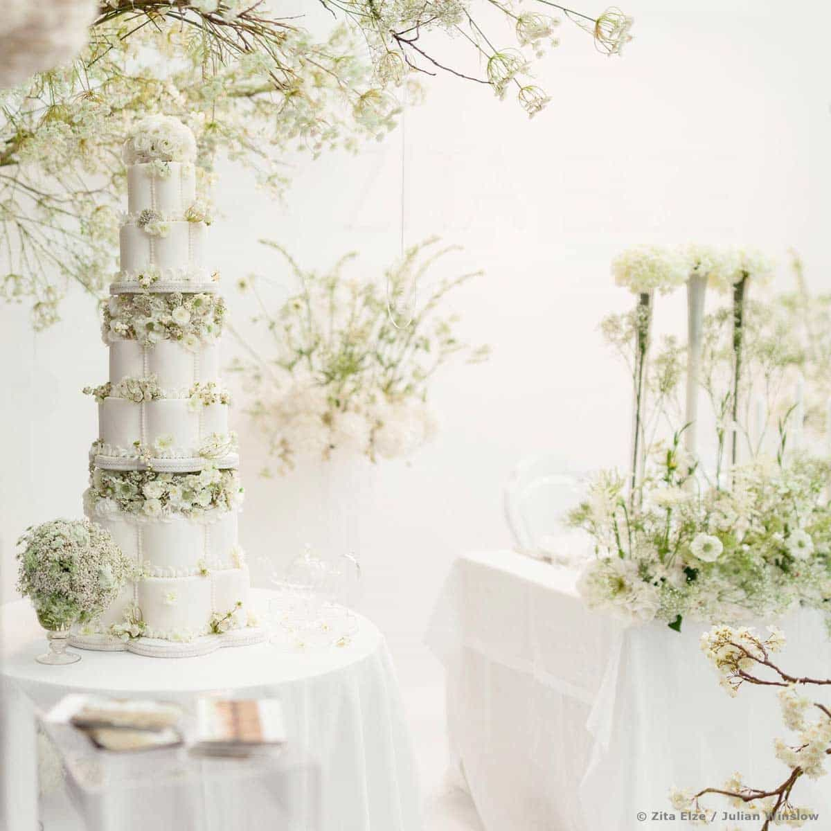White-petal-wedding-cake